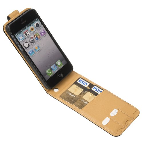 Fonerize Flip Leather Wallet / Card Case for iPhone 5 - Black and Tan