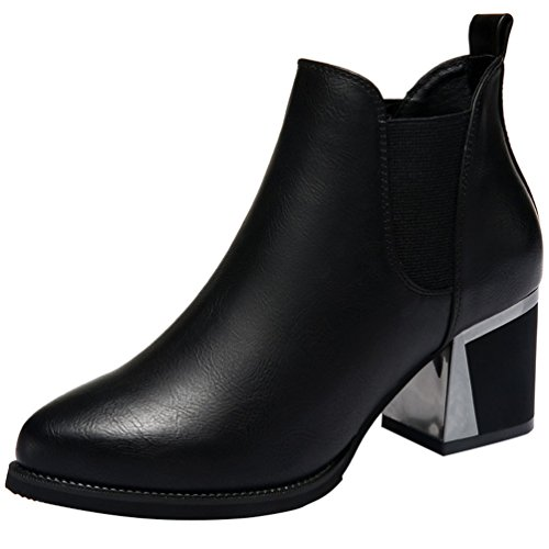 fq-real-womens-stylish-pointed-toe-slip-on-chunky-heel-ankle-boots-5-ukblack