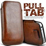 Gadgets World Pull Tab Pu Leather Pouch Cover Case Only Fits Samsung E1200,E2121 - brown