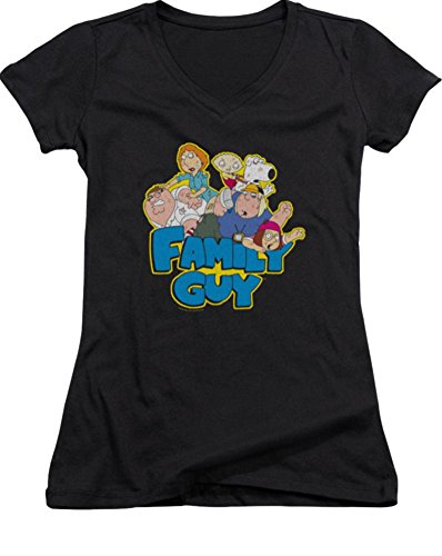 Family Guy Fight Ladies Junior Fit V-Neck T-Shirt