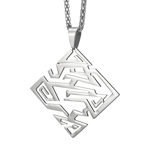 Impressive Mens Stainless Steel Transformers Style Necklace Pendant by R&B Jewelry (Silver)