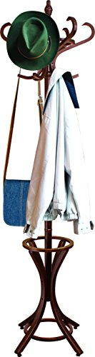 Headbourne 8000 Floor Standing Hat and Coat Rack with Umbrella Stand, Solid Wood with Dark Walnut Finish