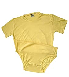 Baby Pants Adult Onezie - 2XLarge Snap Shoulder Yellow