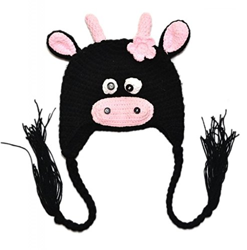 Allheartdesires Baby Dairy Cow Crochet Costume 6-24 Months Black With Pink