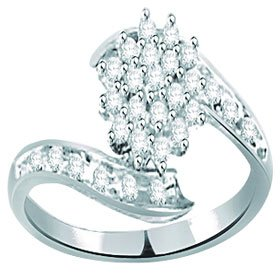 Natural Diamond Cluster Bypass Sterling Silver Ring