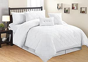 7 Pieces Luxury White Diamond Pintuck Linen Comforter Set / Bed-in-a-bag King Size Bedding