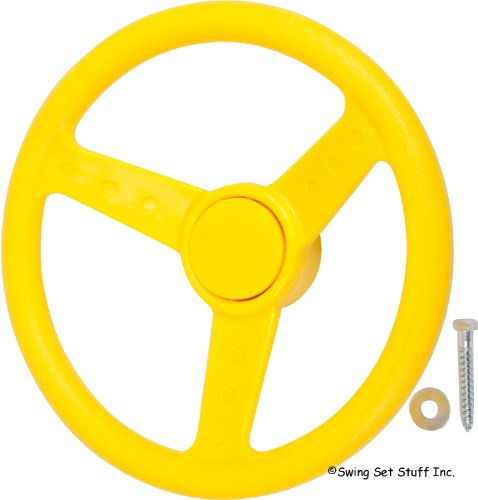 "Deluxe Steering Wheel 12"" Diameter Complete With Bushing And Decorative Cap, Yellow With Sss Logo Sticker"