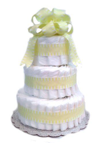 Classic Pastel Baby Shower Diaper Cake (3 Tier, Yellow) front-104724