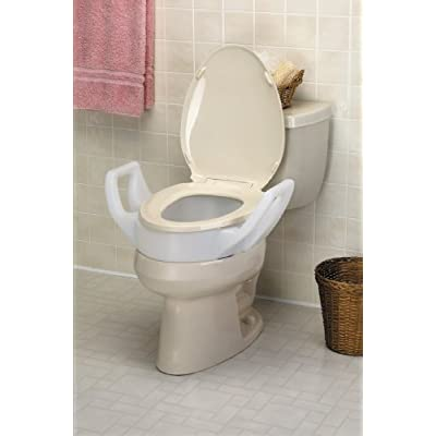 Raised Toilet Elongated Elevated Seat with Arms,fits In between Tolilet Bowel and Seat