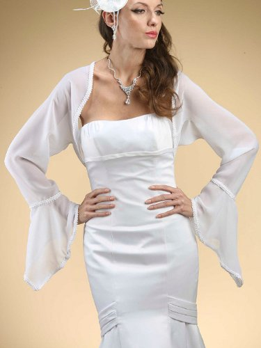 Long Bell Sleeve Chiffon Wedding Bolero with Braided Trim