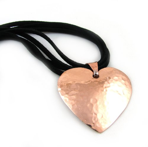 Large Hammered Copper Heart Drop Pendant and Black Suede Cord Necklace Jewellery Gift 44cm / 17.3