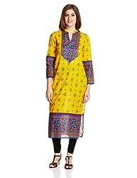 Vishudh Women's Straight Kurta (VNKU003745_Yellow and Royal Blue_Small)