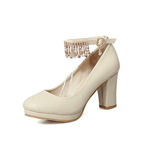 tempo libero moda tacco alto testa tonda/Elegante strass fibbia grosso tacchi scarpe/Scarpe da lavoro-A Lunghezza piede=21.8CM(8.6Inch)