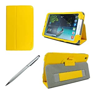 ProCase Samsung Galaxy Tab 3 8.0 Case bonus stylus pen included - Flip Stand Leather Cover Case for Samsung Galaxy Tab 3 8.0 Inch Android Tablet, Built-in Stand, with Auto Sleep / Wake Feature SM-T3110 SM-T3100 (Yellow)