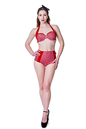 Banned Apparel Red & White Gingham Retro Bikini M - US 8 at Amazon