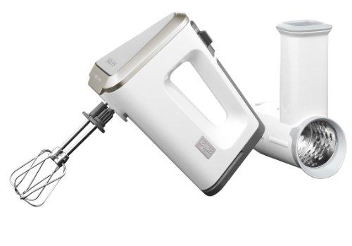 GN 9071 Handmixer 3 Mix 9000 Set (500 Watt, mit Turbostufe) Schnitzelwerk, Rührschüssel, Rührbecher, Schnellmixstab, weiß /grau