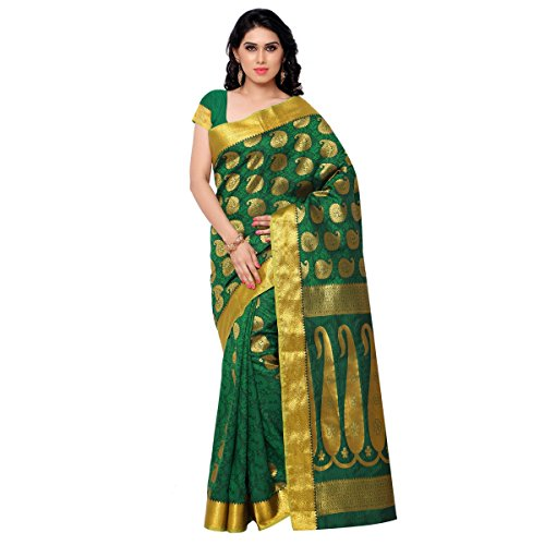 Varkala Silk Sarees Silk Kanchipuram Saree With Blouse Piece (SS3110PG_Pakistani Green)