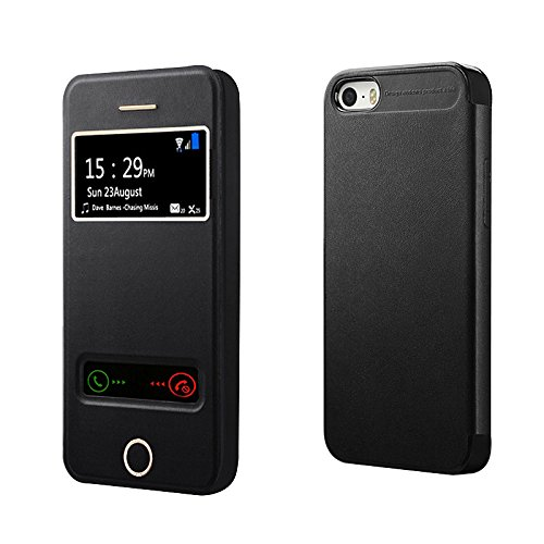 Moon Monkey Ultra-Thin Luxury Fashion Protective Slim Case With Intelligent Window Function For Iphone 5 5S (Mm373) (New Black)