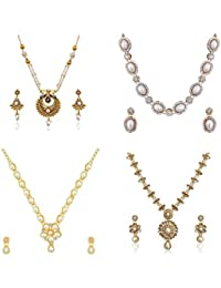 Pearl Bridal Jewellery Sets For Wedding Necklace Set For Women Girls COMBO