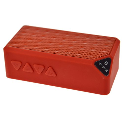 Baxia Portable Wireless Bluetooth Speaker With Built In Speakerphone Rechargeable Battery (Red)