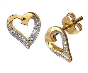 Boucles d'oreilles - PE04605Y - Femme - Coeur - Or Jaune 375/1000 (9 Cts) 0.85 Gr - Diamant