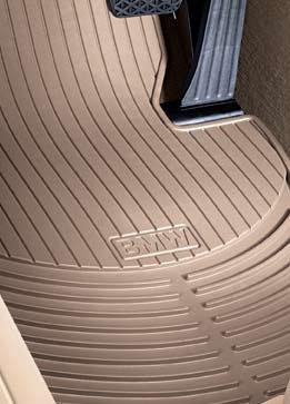BMW 3 Series (E90) 2006-2012 all-weather rubber floor mats -- FRONT Beige (actual color is light brown)