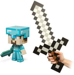 Minecraft Diamond Steve Vinyl 6 Figure Foam Sword Set Of 2 from MOJANG
