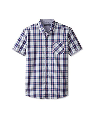 7 Diamonds Men's Levitate Check Short Sleeve Shirt with Pocket