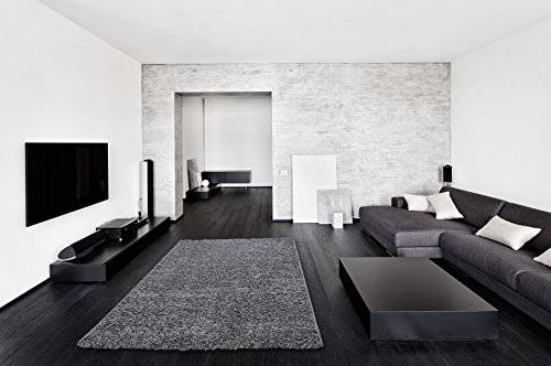 Soft cozy grey color solid shag rug 5x7 contemporary for 5x7 room design