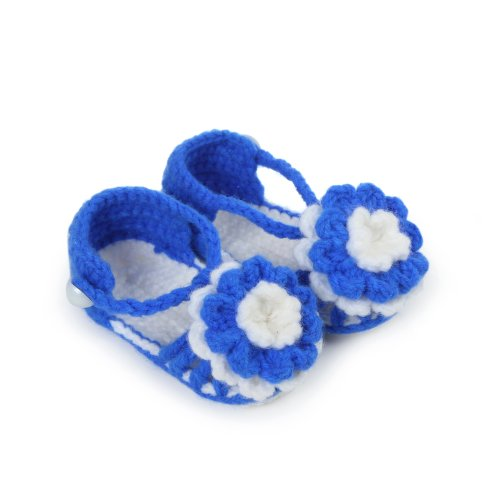 Touch 1 Pairs Baby Girls Crib Crochet Casual Infant Prewalker Knitting Shoes (Deep Blue) front-810514