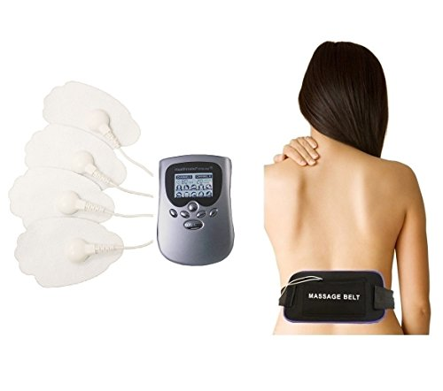 Whole Body Back Electrotherapy 10 Modes Machine | Best Body Sport Massager for Body Relaxation | PM10 + Belly Burning Belt acu MULTI-BELT Can be Used as a Sciatica Brace or Sciatica Belt (silver) FDA Cleared HealthmateForever LIFETIME WARRANTY! (Back Brace Tens Unit compare prices)