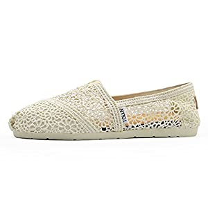 TOLLN Women's Classics Lace Casual Slip-Ons Shoes Breathable Flats with Padded Insole white 7