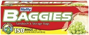 Hefty Baggies Sandwich Bags-150ct (Pack of 6)