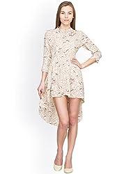 Panit Women's Georgette Dress (PANI019_Beige_Large)