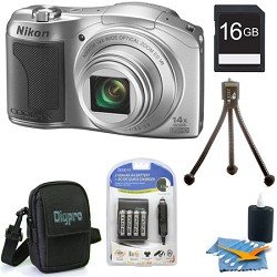 Nikon COOLPIX L610 16 MP Digital Camera with 14x Zoom NIKKOR Glass Lens and 3-inch LCD (Silver) Premiere Bundle With 8 GB Secure Digital High Capacity (SDHC) Memory Card, Digpro Compact Camera Deluxe Carrying Case,more