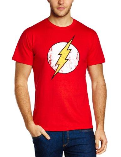 DC Comics - Maglietta, colletto tondo, manica corta, uomo, Rosso (Red), M