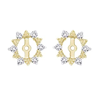 Click to buy 10K Yellow Gold ¼ Carat Diamond Earring Jackets from Amazon!
