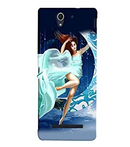 Fuson Moon Girl Back Case Cover for SONY XPERIA C3 - D4014