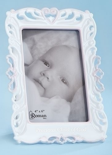 Precious Child of God Pink Girl White Porcelain Decorative 4x6 Picture Frame