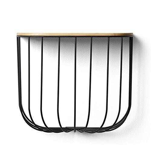 Menu Fuwl Cage Shelf Wandregal, schwarz Deckel esche gebeizt
