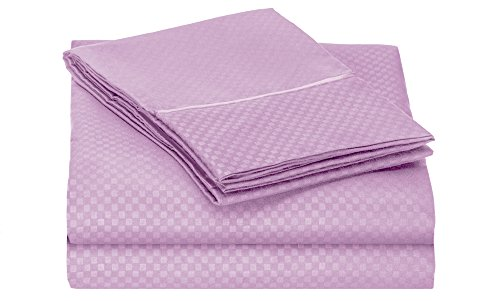Clara Clark 1800 Collection Embossed Checkerboard Design 3-Piece Bed Sheet Set, Twin, Lavender front-949691
