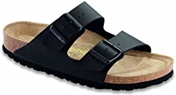 Birkenstock Women\'s Arizona Soft Footbed Black Birko-Flor 42 N