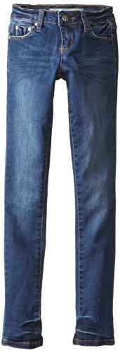 Tractr Big Girls' 5 Pocket Knit Skinny Jeans, Medium Vintage Indigo, 14 front-196239