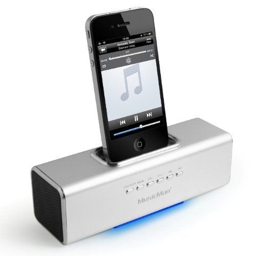 MusicMan TXX3549 Soundstation/Stereo Lautsprecher mit integriertem Akku (MP3 Player, Micro-SD Kartenslot, USB Steckplatz, iPhone/iPod Dock) silber