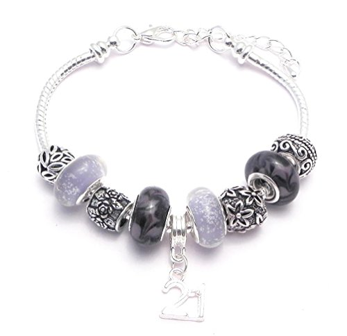 21St Birthday Charm Bracelet Women'S Pandora Style Gift Boxed