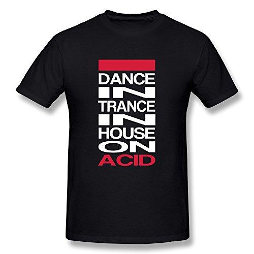 Lzf Men'S Dance Trance House Cotton T-Shirt Xxl Black