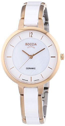 Boccia Women's Quartz Watch with Mother of Pearl Dial Analogue Display and White Ceramic Bracelet B3236-03