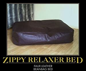 Zippy Faux Leather Bean Bag Pet Dog Bed - Medium - Black Beanbag by Zippy UK
