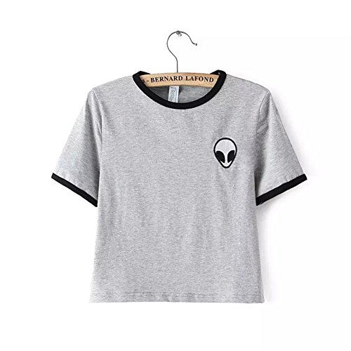 Blogger Striped ET Teen Girls Alien Crop Top Slim Tees Short Sleeve T-shirt (XL(US14-16), Grey) (Teenagers Clothes compare prices)
