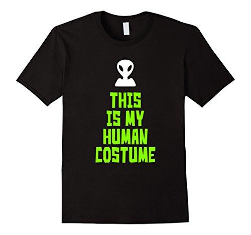 [Men's This Is My Human Costume Alien Halloween Funny T-shirt Large Black] (Cute Alien Costumes Women)